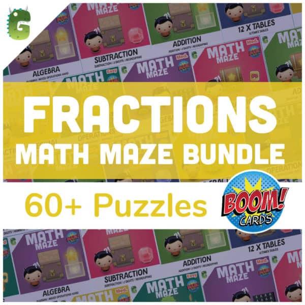 Fraction Math Maze Bundle Cover