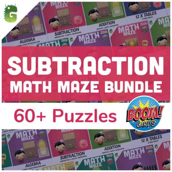 Subtraction Math Maze Bundle Cover
