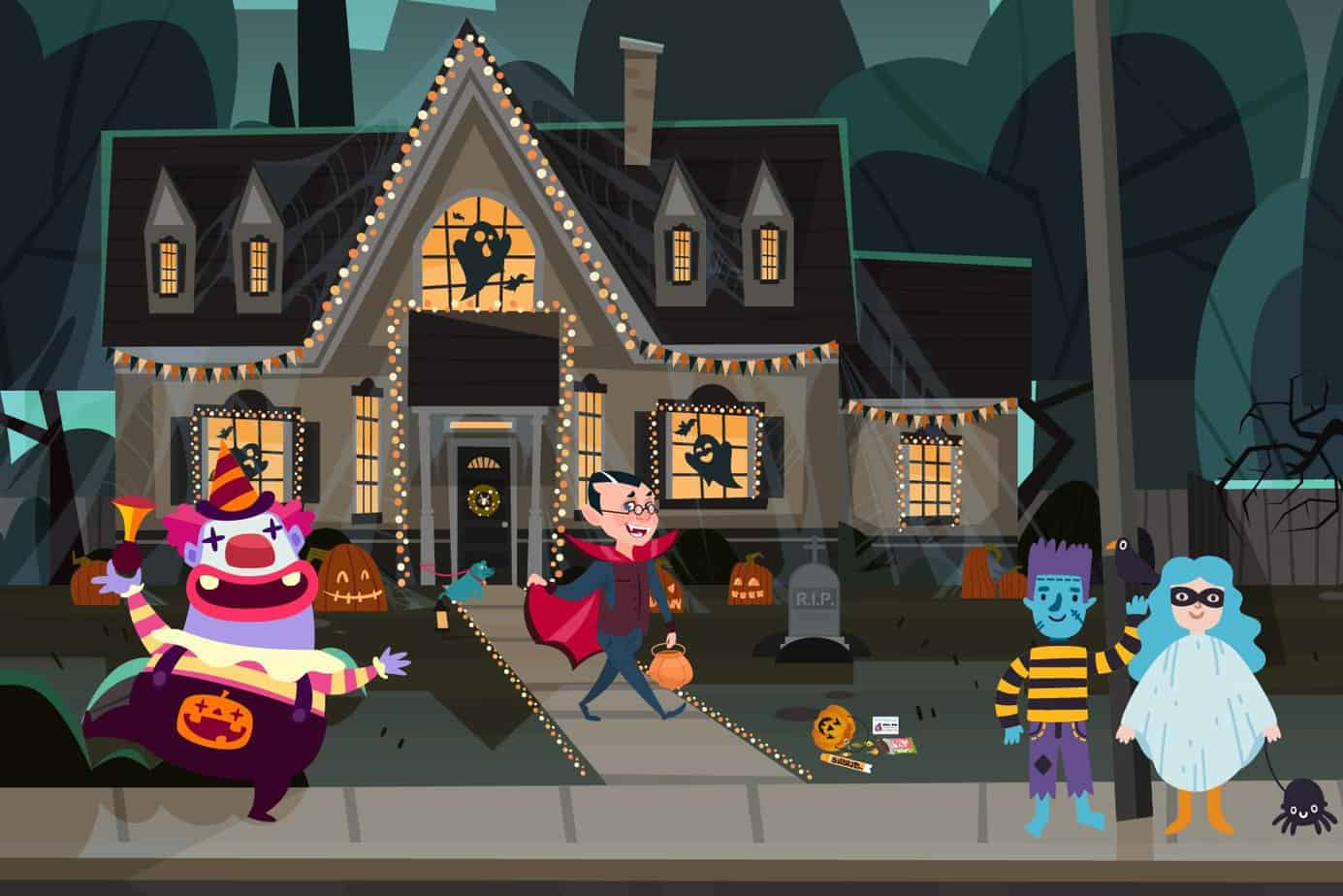 Halloween House with trick or treaters